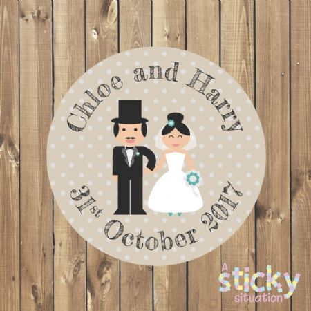 Personalised Wedding Stickers - Cute Couple Design